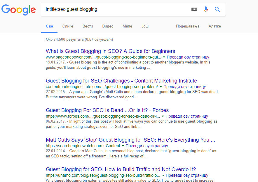 search on google for guest blogging websites